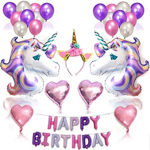 Qivange Einhorn Luftballons, Einhorn Party deko Einhorn geburtstagsdeko Einhorn Geburtstag Party Dekoration Geburtstagsballon Set Einhorn Mottopartys für Mädchen(Lila Thema)