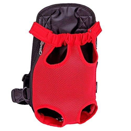 Miniwild Puppy Nylon Net Tragetasche Pet Soft Rucksack Front Tote Sling Carrier (Farbe : Rot, Größe : XL)