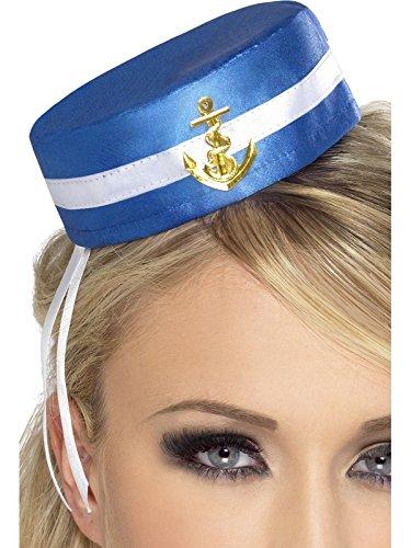 Smiffys, Fever Damen Pillenbox-Matrosen Hut, One Size, Blau, (Ideen Matrose Kostüm)