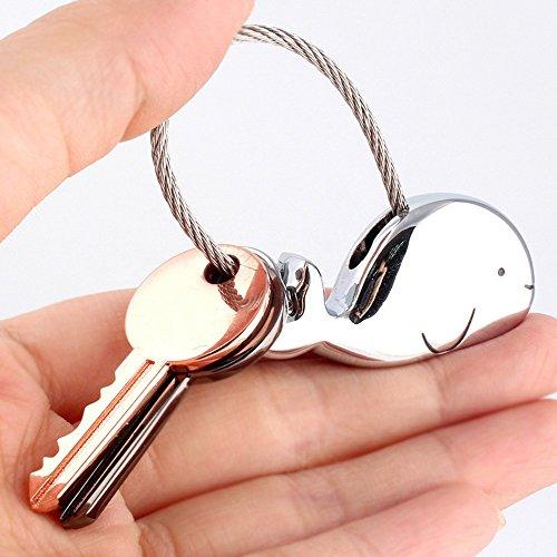 Joykey Liebhaber Schlüsselanhänger 1 Paar Wal Form partneranhänger mit Magnetischen Mund,Geschenk für Freundin,Zink-Legierung Glänzendes Schwarzes und Rosen-Gold