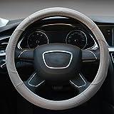 Hivel Antideslizante Cuero Genuino Funda Cubierta del Volante Universal Respirable Vehiculo Auto Coche Genuine Leather Car Steering Wheel Cover 38cm - Gris