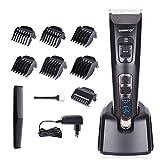 DEERCON Tondeuse Cheveux Professionnelle Tondeuse pour hommes Rechargeables Électrique Tondeuse Barbe avec 6 Peignes de guidage et affichage LED utilisé par professionnels