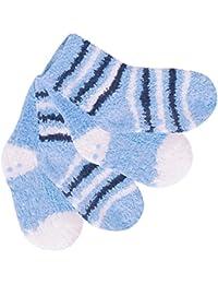 4 Paar süße Baby Kuschelsocken mit Antirutsch-Sohle für Mädchen und Jungen - Kuschelig weich - Farben und Größen wählbar
