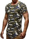 LEIF NELSON Herren oversize T-Shirt Sweatshirt Hoodie Hoody LN6325; Größe XL, Camouflage
