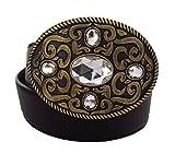 Modischer Damen Ledergürtel mit eleganter Ornamentschnalle - Modell Fivestar in Kristall, goldene Schnalle mit schwarzem oder braunem Band