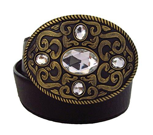 Modischer Damen Ledergürtel mit eleganter Ornamentschnalle - Modell Fivestar in Kristall, goldene Schnalle mit schwarzem oder braunem Band (Hüft Leder Gürtel)
