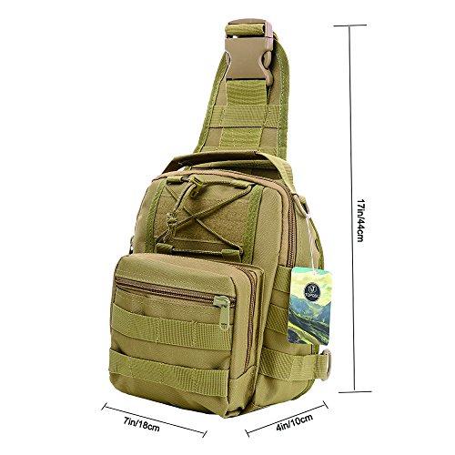 Imagen de bolso de hombro, topqsc bolso táctico del pecho bolsa para hombro crossbody bolsa de equitación y deporte con multiusos,  para camping, trekking, senderismo, rover sling caqui  alternativa