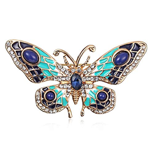 LouiseEvel215 Vintage Dripping Butterfly Brooch Pin Charming Rhinestone Dress Clip Women Banquet Weddings Accessories