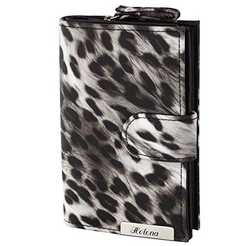 Cadenis Damen-Geldbörse Leoparden-Muster mit persönlicher Laser-Gravur Geldbeutel schwarz Querformat 19x9,5cm