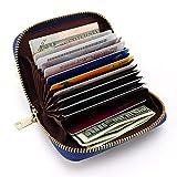 RFID Porta Carte di Credito, Portafoglio multifunzionale, Pelle Portamonete con Cerniera, Caso di Carte, 12 slots di per Donne Uomo, Pacco regalo (Blu scuro)