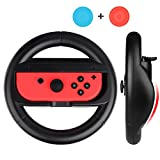 Steering Wheel for Nintendo Switch (Pack of 2) Mothca Nintendo Switch Joy-con Grip Steering Wheel Handle Gamepad Controller Grips Black
