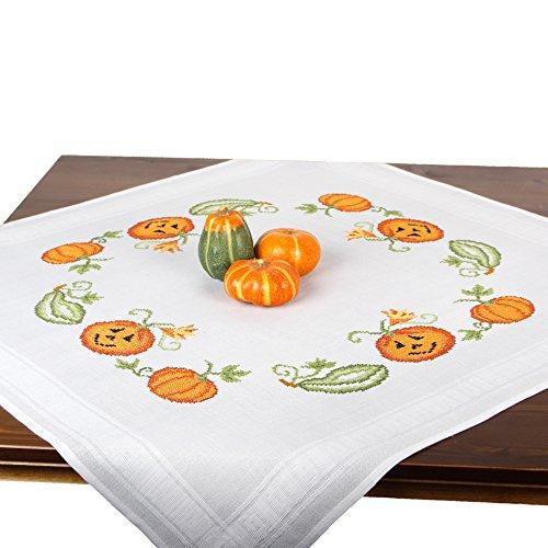 Stickpackung KÜRBISSE, Komplettes vorgezeichnetes Kreuzstich Tischdecken Set Zum Sticken, Stickset mit Stickvorlage