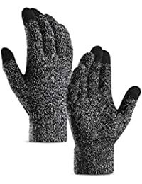 Fauhsto Winter Men Women Knitted Guantes Lovers Student Guantes Touched  Screen Plus Velvet Thicken Warm Mitten… 9461233fa01