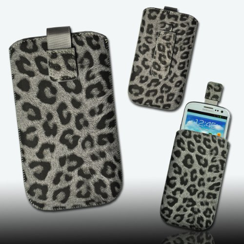 Handy Tasche Wild Kunstleder grau/schwarz Leo5 für Motorola RAZR Maxx / ZTE Tania / Mobistel Cynus T1 / LG Optimus L9 P760 / LG Optimus G E973 / Samsung Ativ S / HTC One S / Asus Pad Phone / Nokia Lumia 920 / HTC One X Plus / HTC One X +