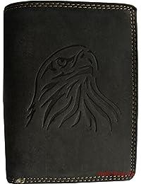 Haute qualité bourse de portefeuille buffle cuir suede aigle inventé noir