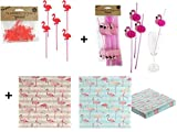 Flamingo Party Set 2 - Servietten, Strohhalme, Picker - Flamingo Deko