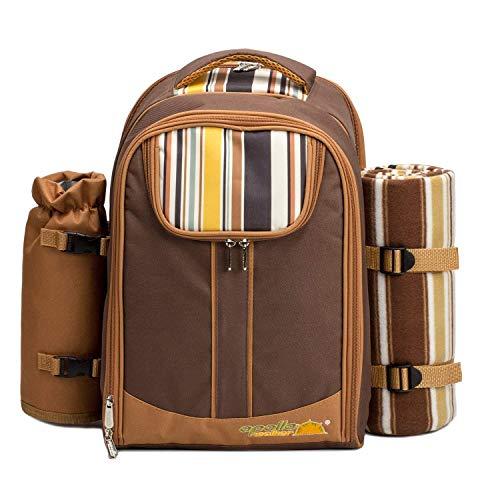 L&Z 4 Person Picknick Rucksack Hamper Kühltasche mit Geschirr Set & Decke(21 kit)