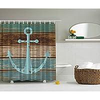 maritim anker rustikal holz vorhang fr die dusche wasser seife und schimmelresistent - Duschen Im Garten Mit Seife