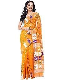 Tanya Mustard Yellow Soft Muslin Jamdani Saree With Yellow And Blue Floral Pattern