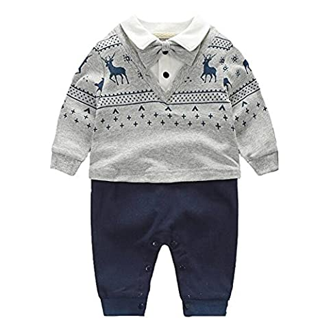 Fairy Baby Baby Boys' Long Sleeve Formal Outfit Necktie/Bowtie Jumpsuit,12-24M,Navy Blue Deer