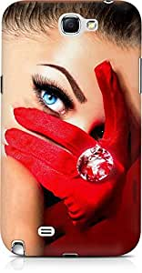 Amez designer printed 3d premium high quality back case cover for Samsung Galaxy Note 2 N7100 (Fashion Woman Diamond Ring)
