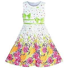 Idea Regalo - Sunny Fashion Vestito Bambina Fiore Verde Cravatta a Farfalla Estate Sole 4-5 Anni