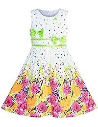 Sunboree Mädchen Kleid Lila Rose Blume Doppelklicken Krawatte Party Kids Trägerkleid Gr. 98-146