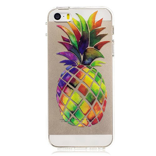 Felfy Schutzhülle iPhone 5S Silikon,iPhone 5S Hülle Transparent Muster,Handyhülle iPhone SE Silikon Ultradünnen Weich TPU Silikon Kreatives Marmor Zitrone Wassermelone Pizza Muster Crystal Klar Schutz Farbe Ananas Cas