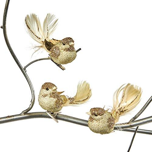 Goodwill: Weihnachten creme und gold Glitzer Feder Vogel auf einem Clip 10cm (3verschiedene) (Glitzer-vogel-ornament)