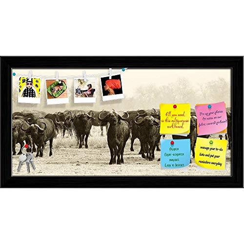 Artzfolio African Buffalo Herd Printed Bulletin Board Notice Pin Board | Black Frame 23.4 X 12Inch -