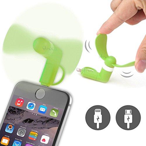 Preisvergleich Produktbild ONX3® (Grün) Micromax Bolt Q339 Mobile Handy-bewegliche Taschen-Sized Abkühlung Ventilator Lüfter Zubehör 2 in 1 Verbindungsstück für Android Micro USB und IOS iPhone