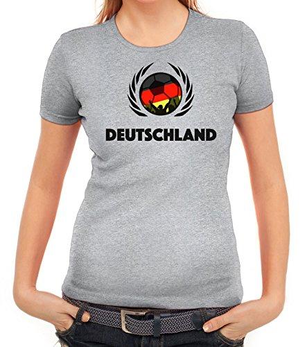 ShirtStreet Germany Wappen Soccer Fussball WM Fanfest Gruppen Fan Wappen Damen T-Shirt Fußball Deutschland Graumeliert