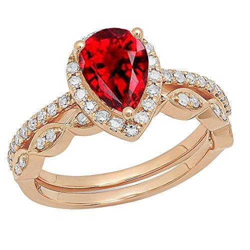 dazzlingrock Collection Damen 14K Rose Gold 9x 6mm Pear Granat & Diamant Rund Halo Engagement Ring Set 9