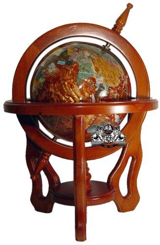 Mahagoni Finish Holz-rahmen (Unique Einzigartige Kunst 18von 9Zoll Amberlite Pearl Swirl Ocean Edelstein World Globe mit Mahagoni-Finish Holz Rahmen)
