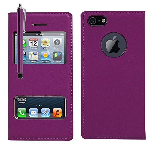 VCOMP® Etui Housse Coque flip cover View compatible pour Apple iPhone 5/ 5S/ SE + stylet - VIOLET VIOLET + stylet
