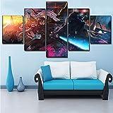 Mddrr 5 Unidades Anime Poster Sword Art Online Ii Impresión En Lienzo Pintura Wall Art Decorativo Marco Para Dormitorio Moderno Sala De Estar