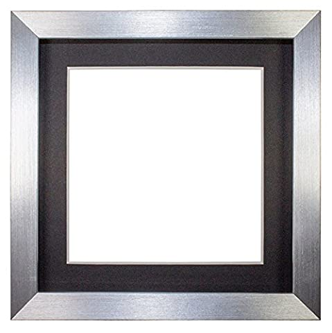 Instagram Square 3D Deep Box Frame Range Picture/Photo/Poster Frame Poster Display with Bespoke Mount - With an MDF backing board - Ready to hang - With a High Clarity Styrene Shatterproof Perspex Sheet - Silver Frame with Black Bespoke Mount - 12