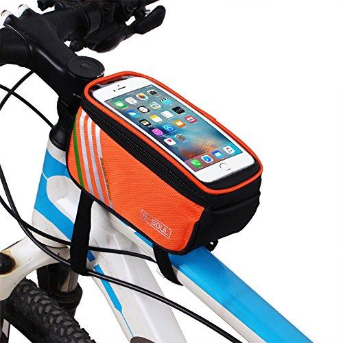 Riiya Bike Package Touch Screen Mountainbike Satteltasche auf dem Paket-Beutel-Handy-Beutel Reitausr¨¹stung 5,7 Zoll Orange