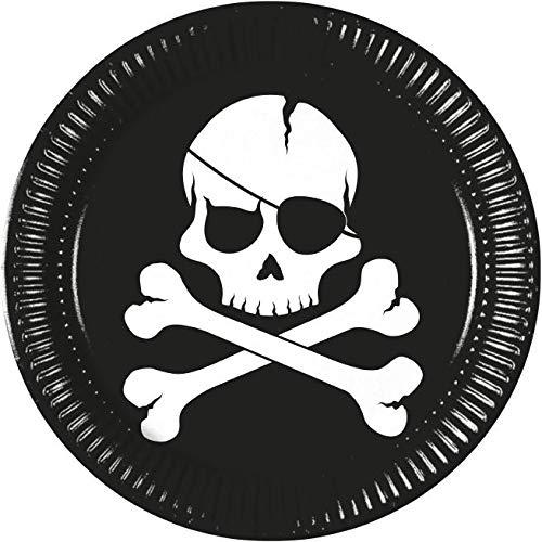 Procosco PR9718 Pappteller Pirates Black Skull, 23 cm, mehrfarbig, 10 Stück