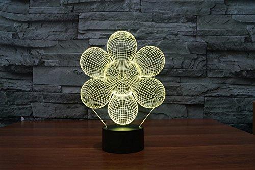 3d Nachtlicht Lampe,Nachtlampe Für Home Office Raum Thema Dekoration Abstrakte 3D Led Lampe 7 Farben Ändern Usb Touch Button Kreatives Design Illusion