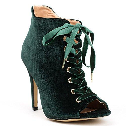 Ideal Shoes - Bottines peep toe à lacets et effet velours Abisha Vert
