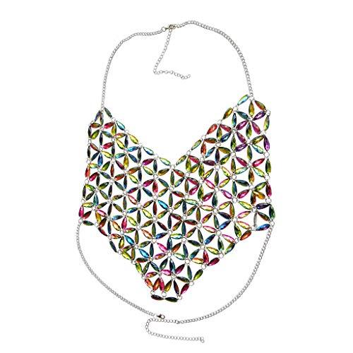 KnSam Damen Körperkette aus Metalllegierung Strandurlaubsortartedelstein, Der Borten Kette Näht Leuchtende Bunt Körperkette