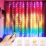 LED Lichtervorhang, DazSpirit 210LEDs USB Lichterkettenvorhang 2M(H)*1.5M(W) Multicolor Fensterleuchten mit 8 Modi Vorhang Lichterketten IP44 Wasserfest für Außen Innen Party Weihnacht Schlafzimmer