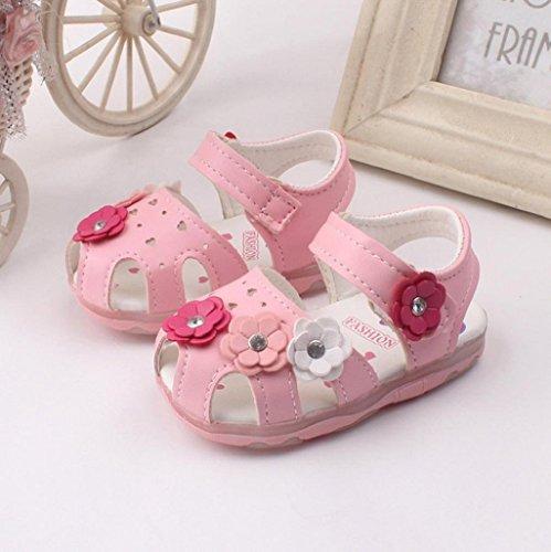Baby Schuhe Auxma Baby Girls Hollow Blumen Sandalen beleuchtete Soft-Soled Prinzessin Schuhe Firstwalker Sommer Schuhe (12-18 M, Weiß) Rosa