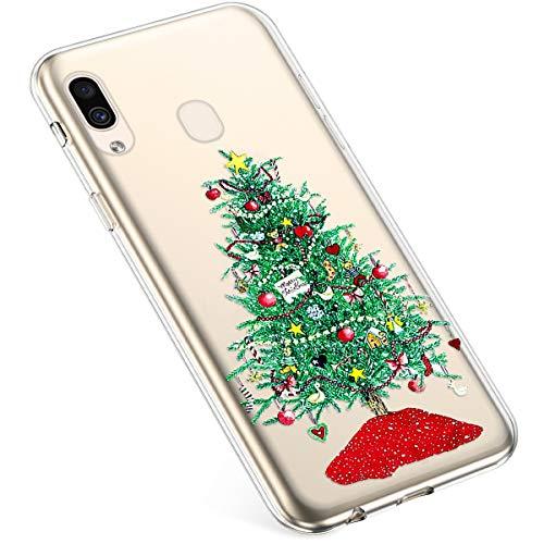 Uposao Kompatibel mit Samsung Galaxy A40 Silikonhülle Christmas Durchsichtig Weiche TPU Handytasche Transparent Ultra Dünn Klar Crystal Clear Bumper Backcover,Grün Weihnachtsbaum