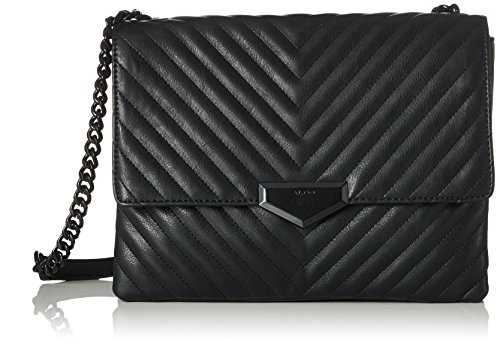 ALDO Damen Angle Umhängetasche, Schwarz (Black Synthetic), 11x22x29.5 cm