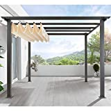 Terrassen Pavillon Pergola Aluminiumgestell Polyester-Dach stufenlos raffbar 290 x 290 x 220 cm dunkelgrau beige
