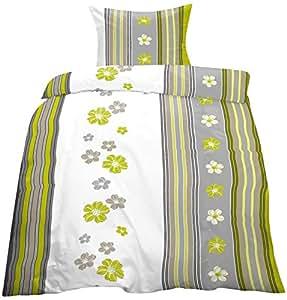 2 tlg. Biber Baumwolle Winter Bettwäsche ,135x200 + 80x80 in grün - weiss - grau /Blumen Blüten Muster mit Reissverschuß / Winterbettwäsche Home-Impression