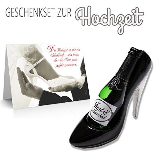 Geschenkset zur Hochzeit 'Pumps mit Sekt' 3-teilig/Faltkarte/Piccolo Sekt 'Just Married' / Flaschenhalter Pumps/Hochzeit/Hochzeitsgeschenk