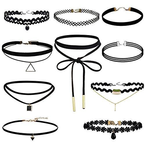 BJ-SHOP Choker Halskette,Tattoo Halskette Madchen Classic Stretch Choker mit Anhanger Gothic Halskette, 10 Stuck